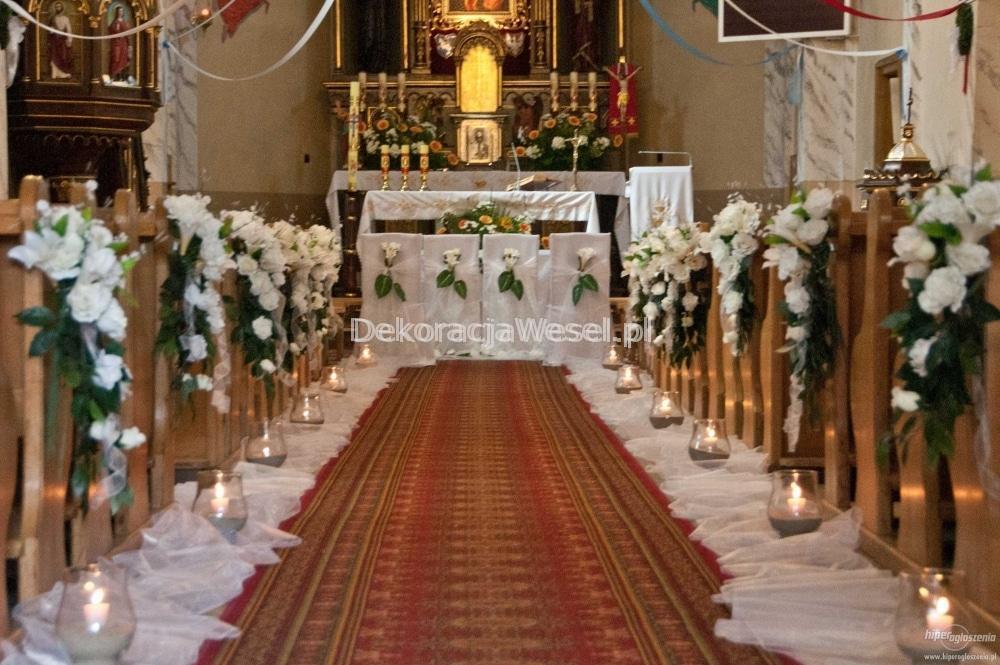 Wspaniały Dekoracja kościoła na Ślub. Biały dywan, Lampiony, dekoracja AB37