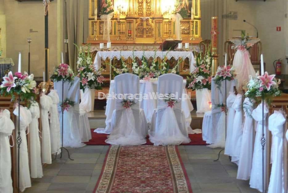 Dekoracja Kościoła Na ślub Biały Dywan Lampiony Dekoracja